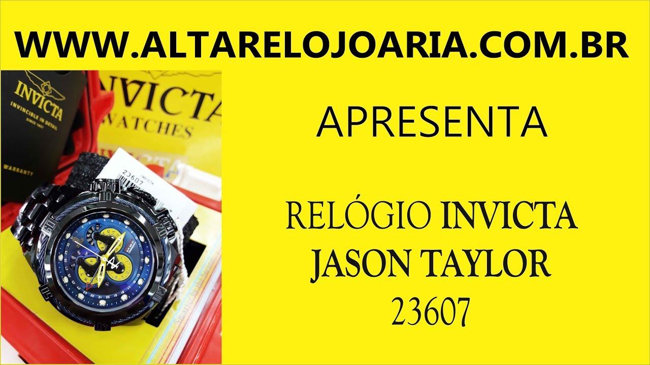 fcdceb3295f Relógio Invicta Bolt Hibrido Jason Taylor 23607 Preto Pvd Calendario Triplo