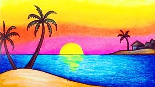 How to Draw Simple Scenery for Kids | Drawing Sunset Scenery