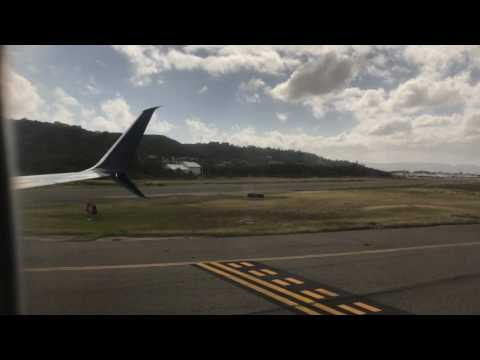 Westjet landing at Donald Sangster Airport in Montego Bay Jamaica - January 11, 2017