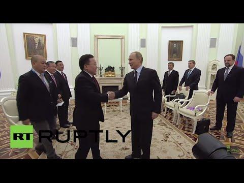 Russia: Putin meets with Mongolian President Elbegdorj ahead of V-Day celebrations