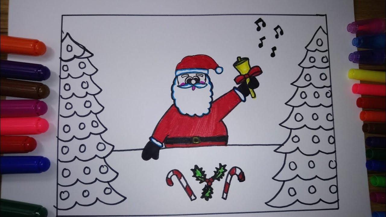 Noel Baba Nasil Cizilir Yilbasi Resmi Ciz Boya Youtube
