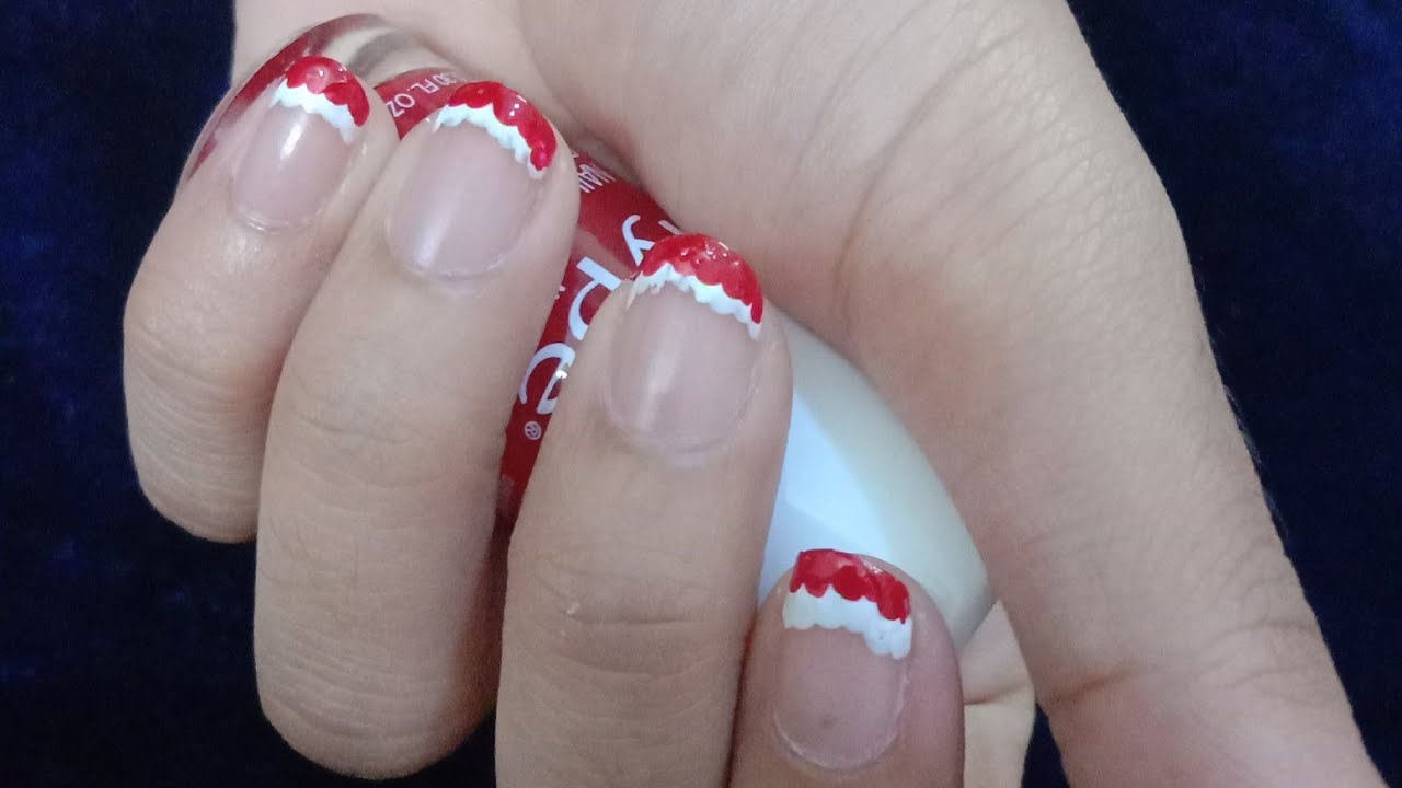 Christmas Nail Art 2019 Red White Festive French Manicure
