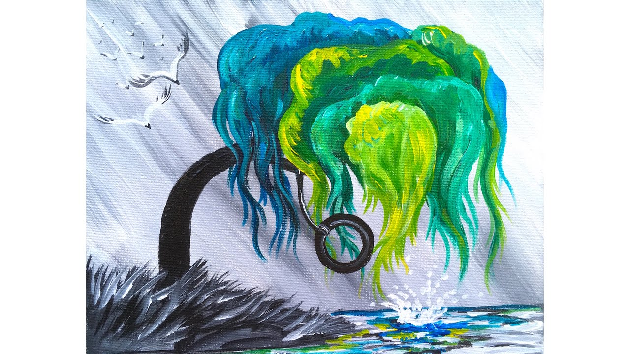 WILLOW Tree STEP BY STEP Acrylic Painting on Canvas for Beginners