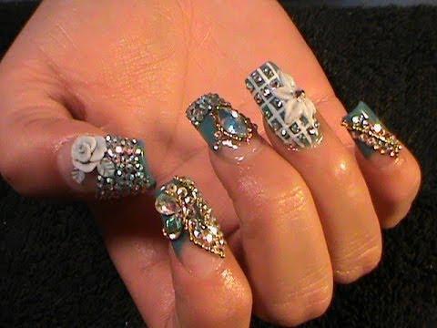 Uñas Estilo Sinaloa Winter Bling Nails