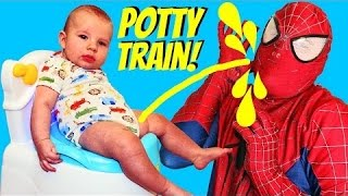 SPIDERMAN POTTY TRAINS BABY ADAM Superheroes IRL Spidey Potty Training 4 Month Old by DisneyCarToys