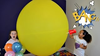 Huge Balloon Pop Toy Challenge - Kinder Surprise Eggs - Frozen - Bubble Gum Candy Prizes