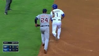 DET TEX Tigers Run Down Andrus To End The Inning