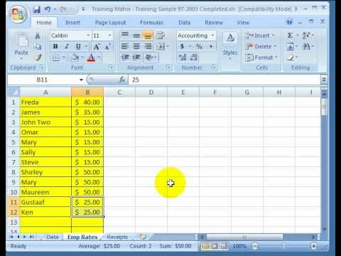 training matrix instructions pivot tables youtube