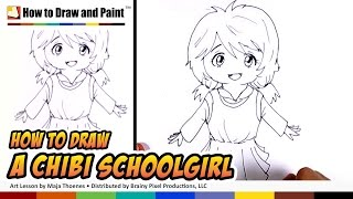 How to Draw Chibi Girl (Schoolgirl) Draw Anime Girl | MLT