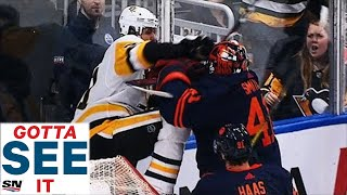 Watch as a frustrated mike smith shoves evgeni malkin against the boards after getting run by penguins' forward.-----------------------------------------...