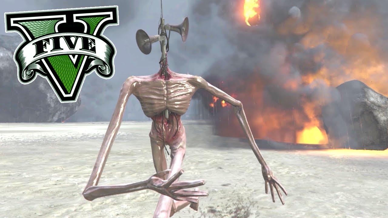 SIREN HEAD SALVANDO o FRANKLIN da CHUVA de METEOROS no GTA 5 ! ( Cabeça de Sirene )