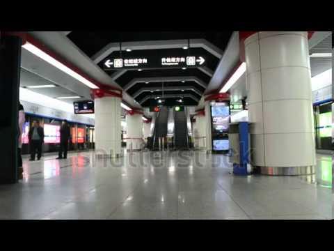 stock footage chengdu china dec metro stop in subway station in chengdu china on dec