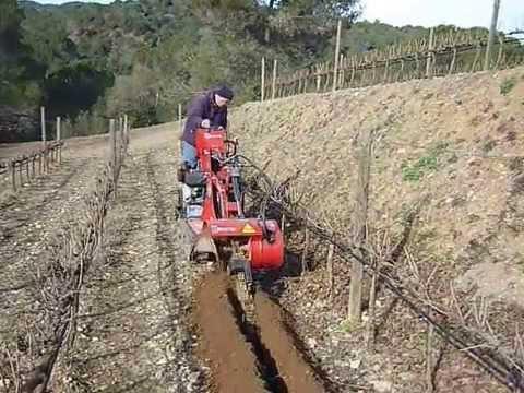 Zanja riego enterrando tubo goteo en la vi a youtube - Tubo riego por goteo ...