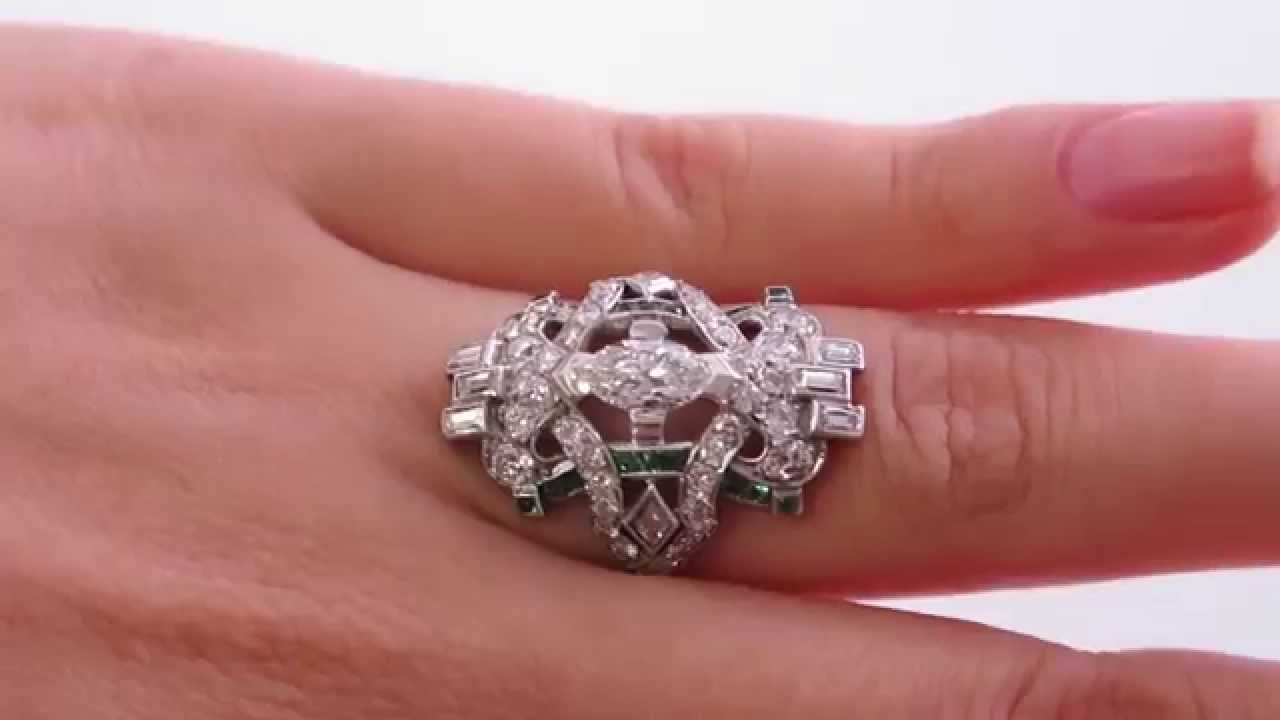 Edwardian/ Art Deco 2.25ct Old European Marquise, Kites, Baguettes ...