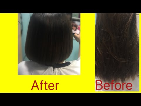 Watch and learn:change your style with beautiful bob haircut and rebonding