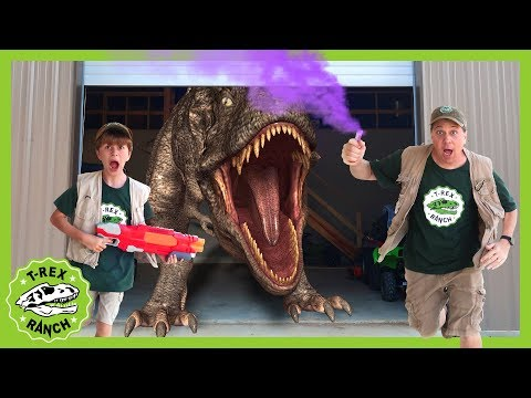 T-Rex Is Trapped! Giant Dinosaur Escape & Kids Pretend Play Dinosaurs Adventure With Nerf Toys