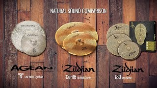 Zildjian Gen16 vs L80 vs Agean Low Noise Cymbals natural sound comparison