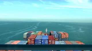 Container ship departs Melbourne