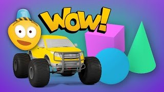 Learn 3D Shapes And Race Monster Trucks | Monster Truck Stunts | Educational Cartoons For Children