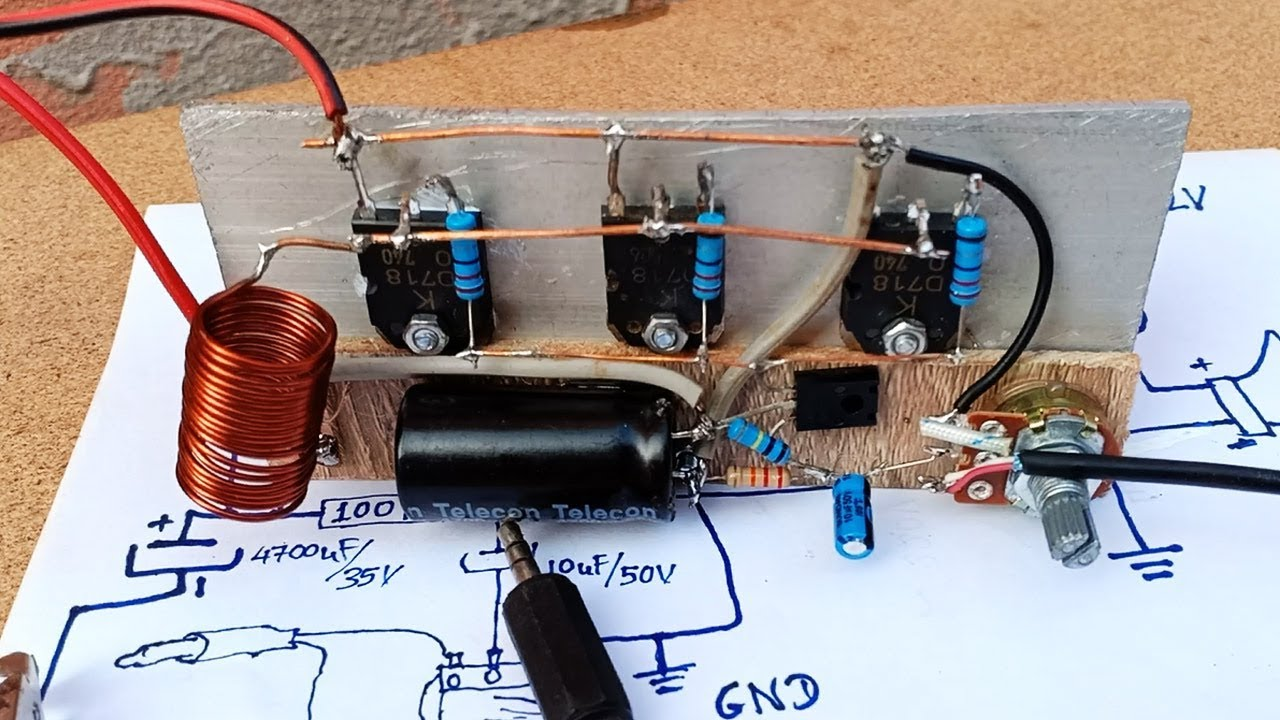 How to make easy Amplifier 3 Transistors D718 full power ...