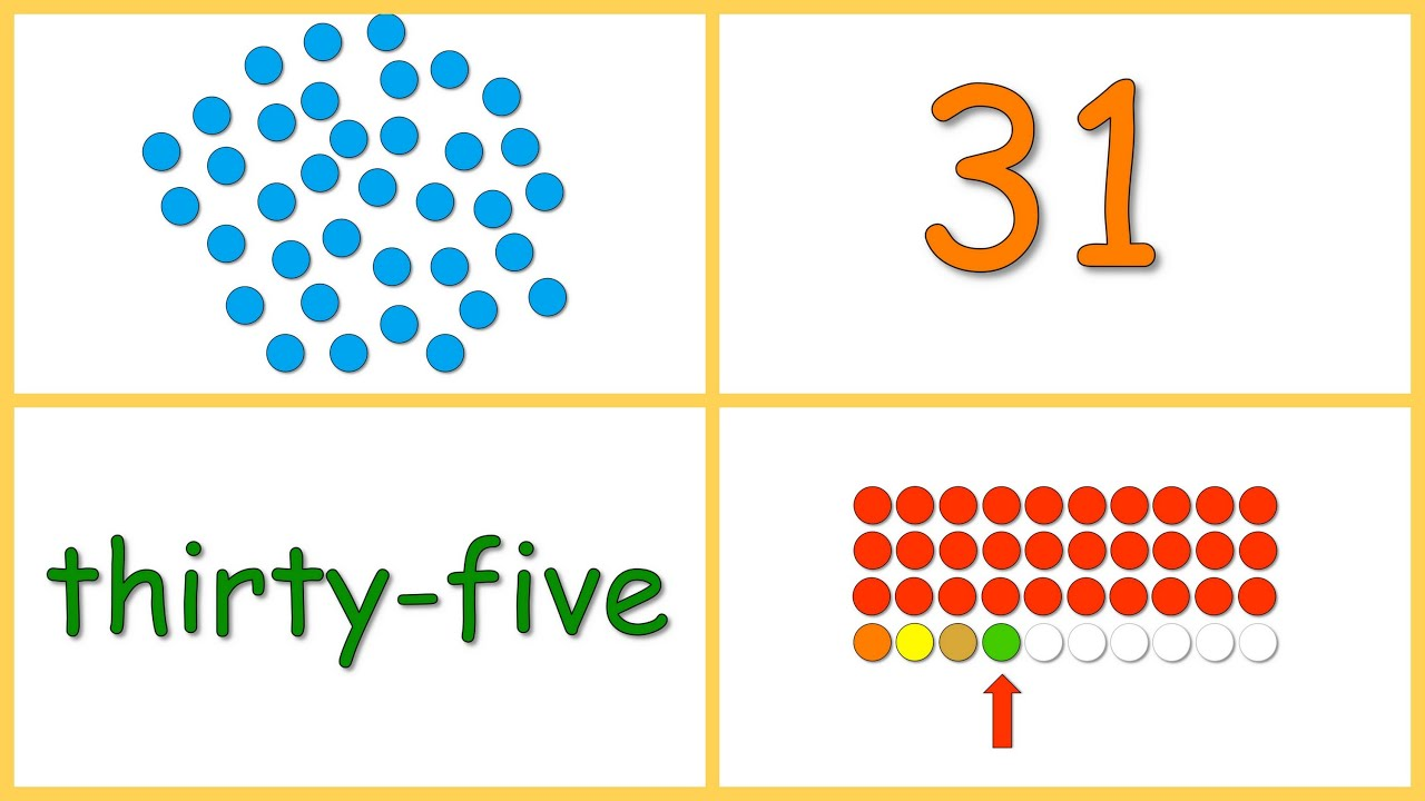 Baby Math Numbers 30 40 Dots Numerals Words Rows