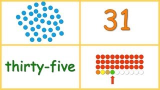 Baby Math: Numbers 30-40 (dots, numerals, words, rows)