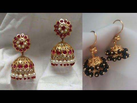 Gold And Bead Small Jhumka Designs 2019