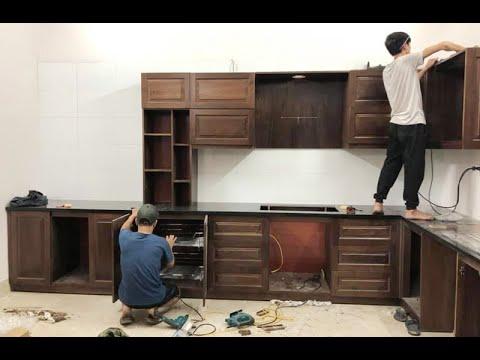 Lắp đặt tủ bếp gỗ óc chó kèm thiết bị bếp Teka nhà chú Thịnh – 85 Ngõ 151 Láng Hạ | Nội thất Hpro