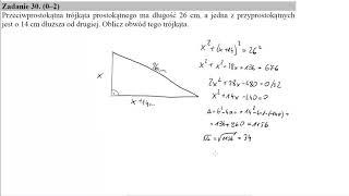 Matura maj 2017 zadanie 30 Przeciwprostokątna trójkąta prostokątnego ma długość 26 cm, a jedna z