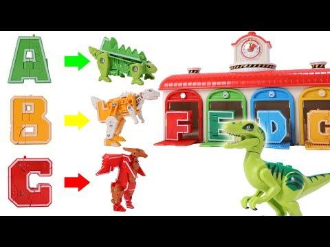Alphabet Robot Transform To Dinosaur Robot - Dinosaurs Toys Movie for Kids