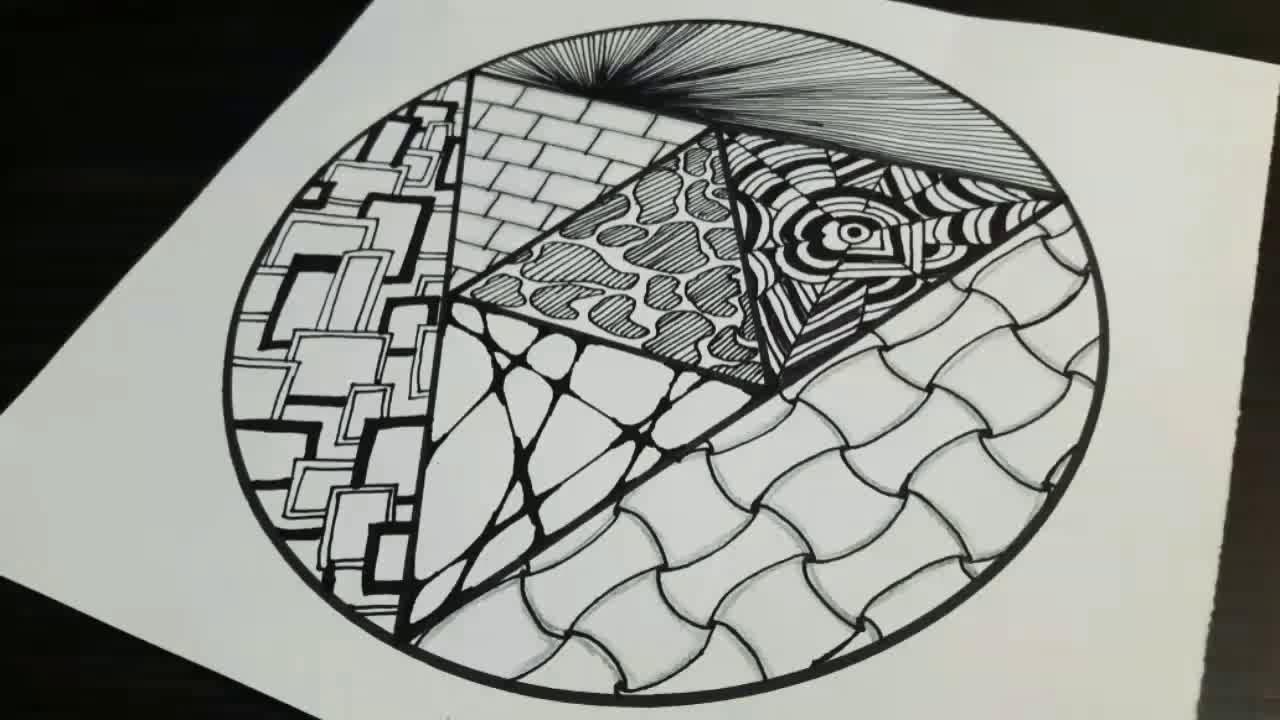 7 kolay zentangle yapımı / zentangle art / doodle desenleri / zentangle çizimi /