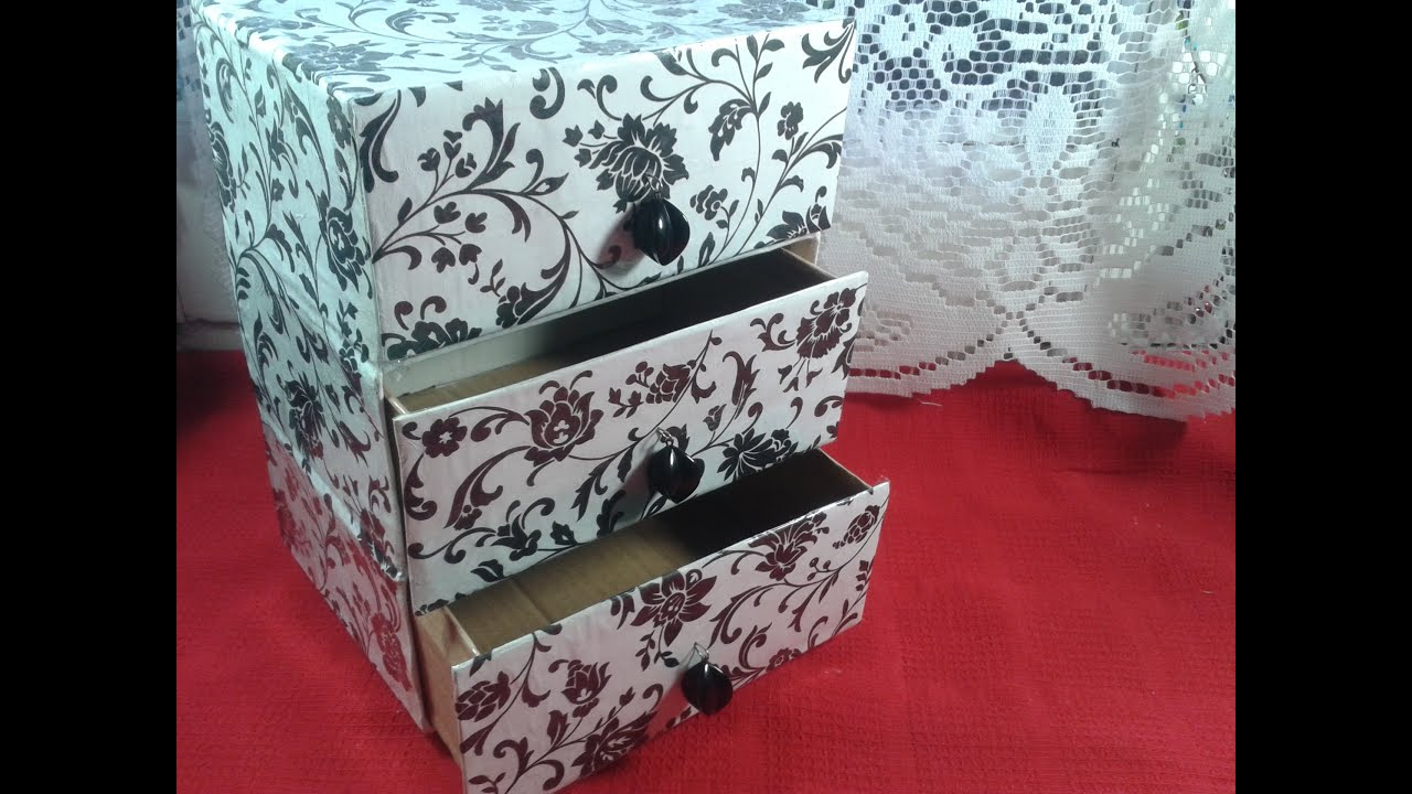 Diy cajonera organizador reciclando cajas youtube - Manualidades con cajas ...