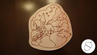 Wood Burning a Christmas Scene Free Template!