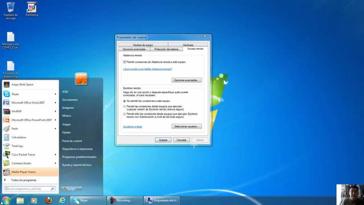 Conexion a escritorio remoto windows 7 youtube - Como cambiar fondo de escritorio windows 7 starter ...