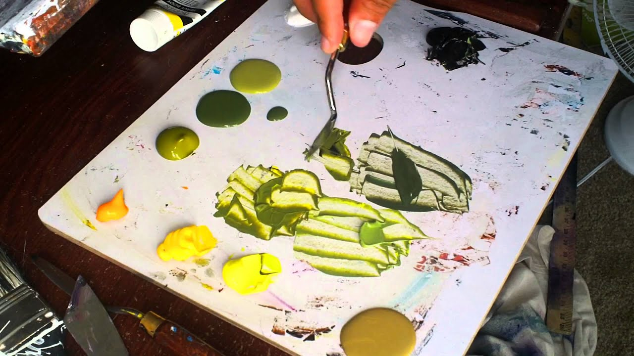 Mixing Luscious Green Paint Out of Black and Yellow\