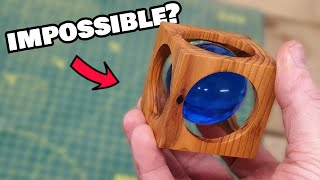 Can I turn a resin sphere INSIDE a wooden cube? | Woodturning challenge