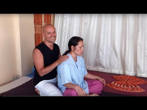 Thai Massage, video of real massage session. Sitting position