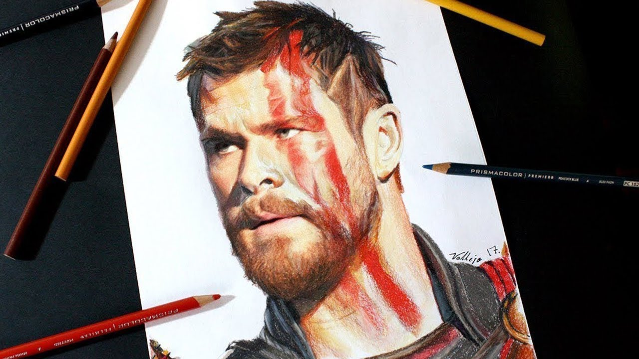 Dibujo De Thor Ragnarok Chris Hemsworth Drawing Thor Youtube
