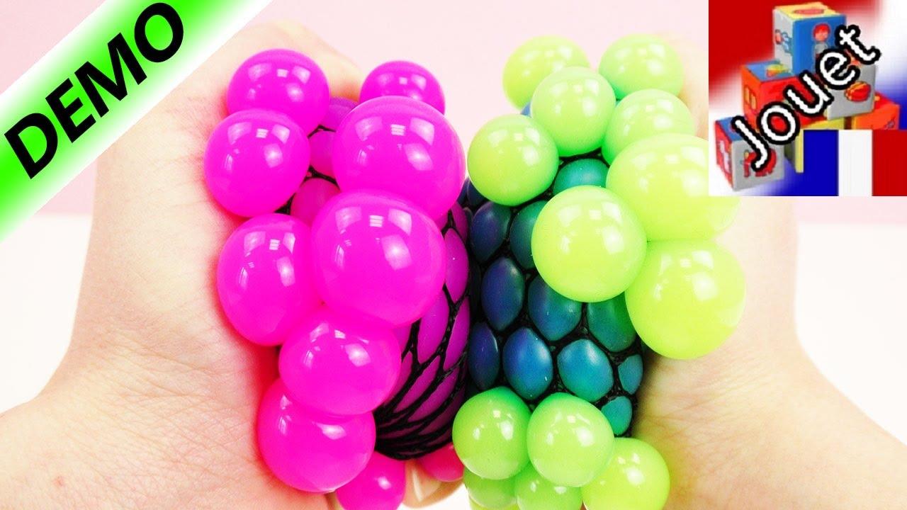 Très Antistress visqueux – Balle| Squishy Mesh Ball bleue et vert fluo  IQ44