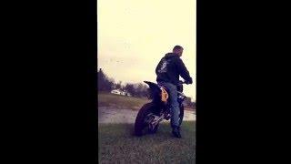Dumbass Guy on Dirt Bike Burning out...