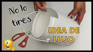 GENIAL IDEA REUTILIZANDO BALDE PLÁSTICO // Manualidades con botes de pintura // Plastic bucket craft