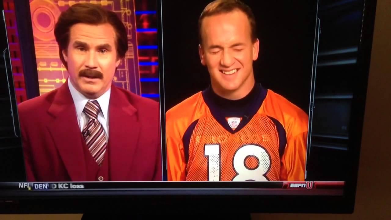 bacb7aa08 Ron Burgundy interviews Peyton Manning - YouTube