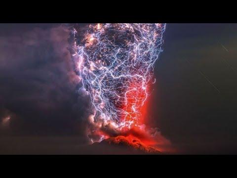 Lightning Storm Inside A Volcano
