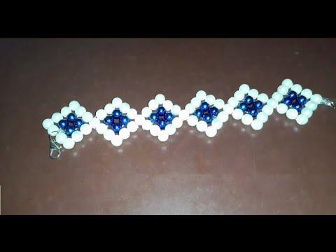 أفكار اكسسوارات Handmade ** اسورة خرز أنيقة - هاند ميد - أبيض وأزرق **