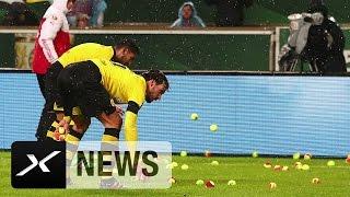 groes tennis bvb fans mit ticket protest   vfb stuttgart borussia dortmund 1 3   dfb pokal