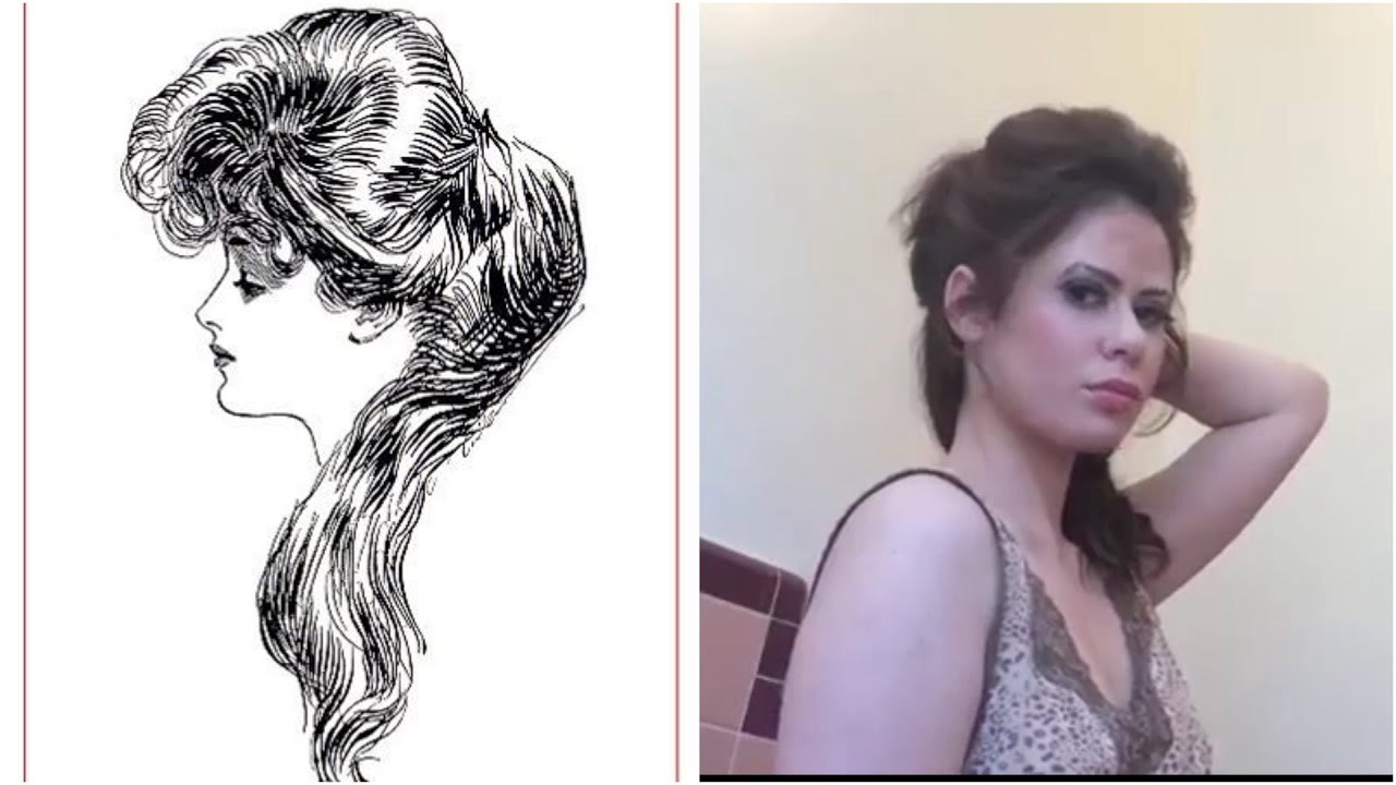"Gibson Girl Edwardian ""Question Mark"" hair tutorial"