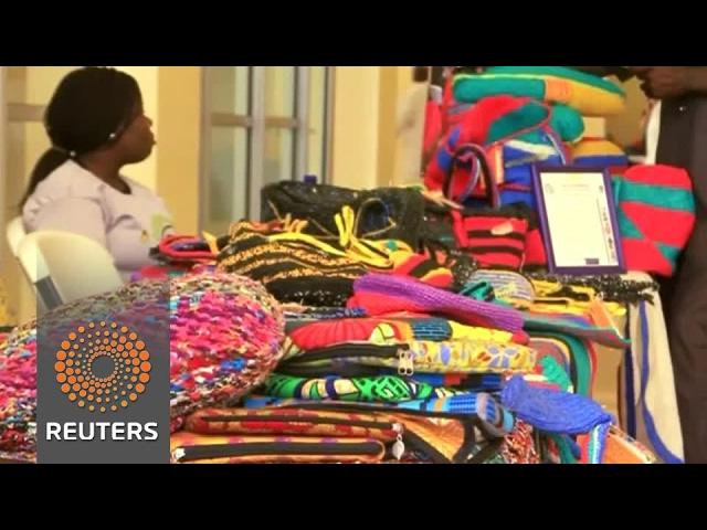 Nigerian women crochet bags from plastic waste