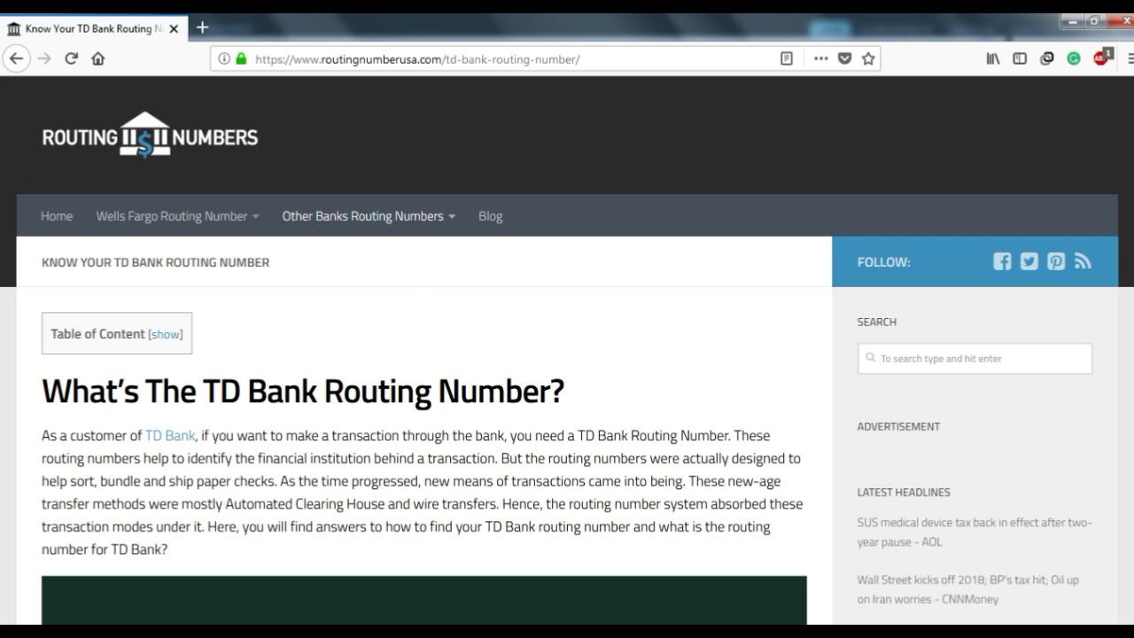 How to Find TD Bank Routing Number?