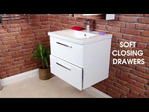 Vasari Wall Hung Vanity Unit & Basin Gloss White - Plumbworld