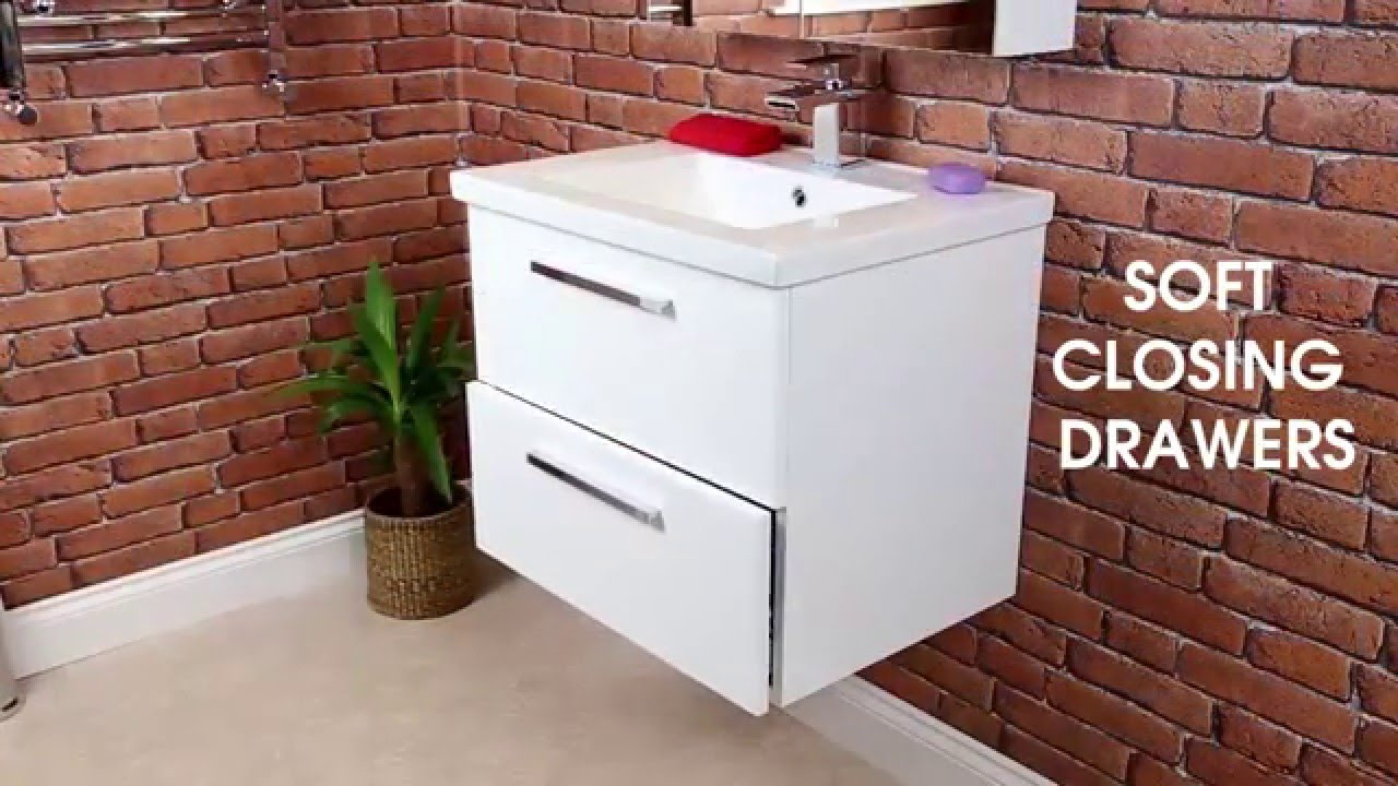 Vasari Wall Hung Vanity Unit & Basin Gloss White - Plumbworld - YouTube